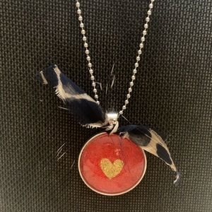 Jewelry - Silver chain with red and gold heart pendant